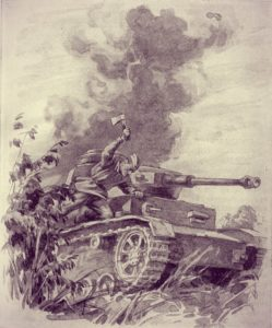 С топором против фашистского танка.